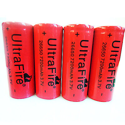 Hot! 4x 26650 7200mah 3.7v Li-ion Ultrafire Rechargeable Battery For Flashlight