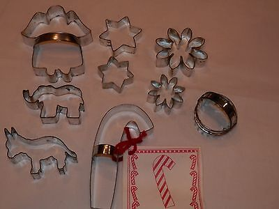 9 pc MIxed Lot of Vintage Metal Cookie Cutters