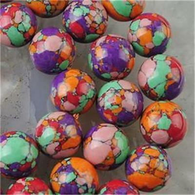 GREAT RED 6MM Multicolor Turquoise Gem Round Loose Bead 15inch wh_sale