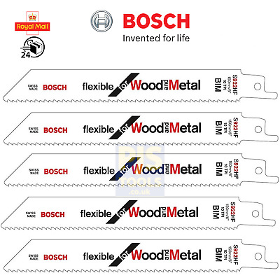 5 x Bosch S922HF reciprocating saw blades shark sabre wood metal recipro