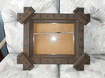 Antique Old Paint Decorated Folk Art Chip Carved Frame with Glass ~11 x 14