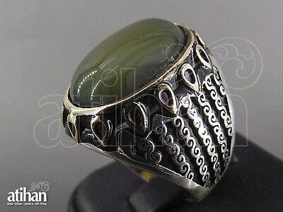 925 STERLING SILVER MEN'S AGATE RING US SIZE 8 TO 11.5 TURKISH HANDWORK