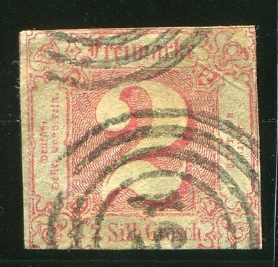 German States, Thurn & Taxis 1860, 2sgr rose, Scott# 11 (Used)