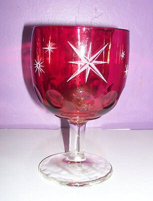 Vintage Decorative Red mug with Frosted Stars Schooner Goblet Thumb print style
