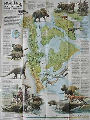 1993 NORTH AMERICA in the Age of DINOSAURS LARGE WALL MAP National Geographic