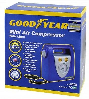 Goodyear 12V Mini Compact Air Compressor Bright Led Light Bike Car Tyre Inflator