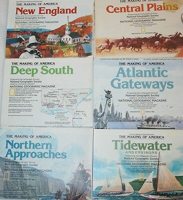 Lot of 6 LARGE WALL MAPS The Making of America Series National Geographic LOOK