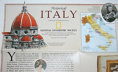 1995 Historical Italy LARGE WALL MAP National Geographic