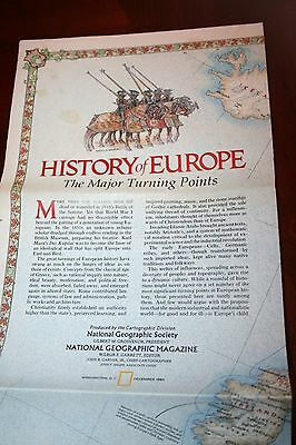 History of Europe Major Turning Points VERY LARGE Map National Geographic 1983