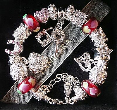 Authentic PANDORA Silver Charm Bracelet with Charms Beads Pink Love Heart Key!