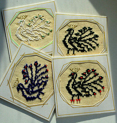 Set of 4 Postcard Handmade Ukrainian Traditional Embroidery, Ukraine