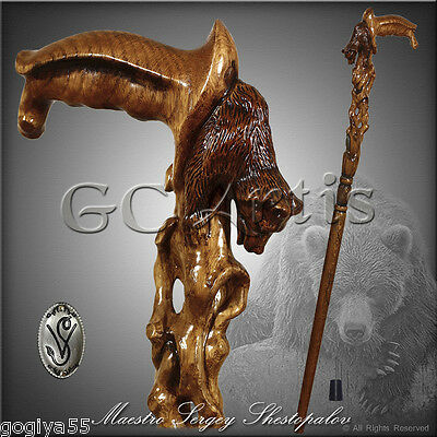 HANDMADE AWAKENING BEAR GRIZZLY HANDLE CRAFTED CARVED WOOD WALKING STICK CANE D