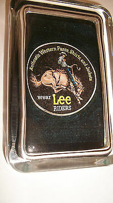 Lee Riders Jeans Western Clothes Horse Rodeo Advertising Sign GLASS PAPERWEIGHT