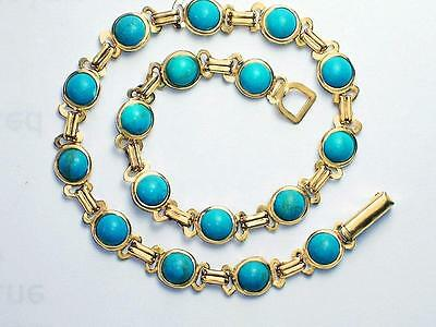 Turquoise  real 14k gold filled 10 -11 -12 inch long 6mm wide ankle bracelet