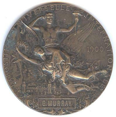 OLYMPICS INTEREST PARIS 1900 EXPOSITION PRIZE BRONZE MEDAL TO G. MURRAY