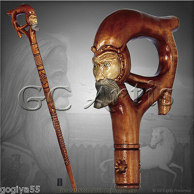 FOLK TOP ART NATURAL HANDLE CARVED CRAFTED WOODEN WALKING STICK CANE STAFF MAN
