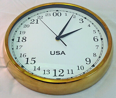 12 inch 24 Hour Wall Clock in Brass