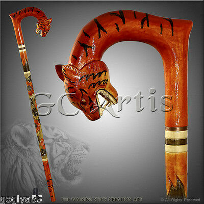 UNUSUAL RARE HANDMADE WALKING STICK CANE STAFF HANDLE WOODCARVING CRAFTED TIGER