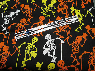 Halloween Dancing Skeletons on Black Background 100% Cotton - sold by the yard