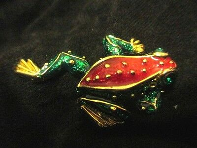Enamel Frog Green and Red Goldtone Emerald Eyes Exquisite Pin(51)