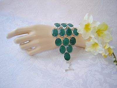 ARTISAN FACETED TABLE-TOP NATURAL  EMERALD STERLING SILVER CUFF BRACELET  90 GR