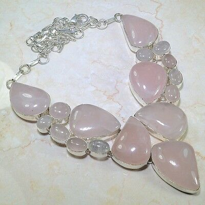 ARTISAN FACETED CABOCHON-CUT OVALS OF  ROSE QUARTZ  925 SILVER NECKLACE 145 GR
