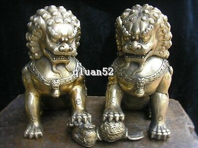 Chinese classical silver palace gate of the guardian evil Foo dog fu lion a coup