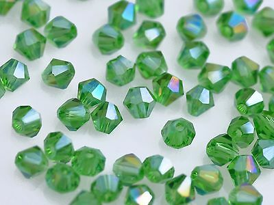 New 50Pcs AB Green Glass Crystal Jewelry DIY Findings Bicone Loose Beads 4mm