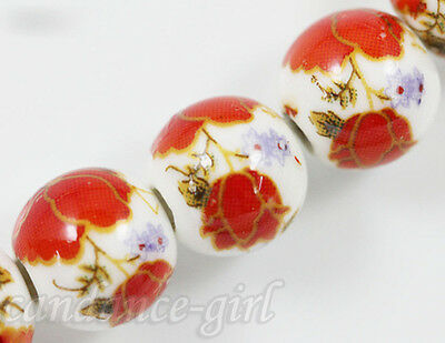 Wholesale 20Pcs High Quality Red Dappled Ceramic Porcelain Loose Round Beads 6mm
