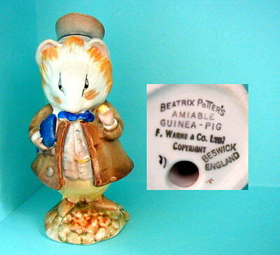 Beswick Beatrix Potter BP2a Gold Oval  Amiable Guinea Pig - Excellent Condition