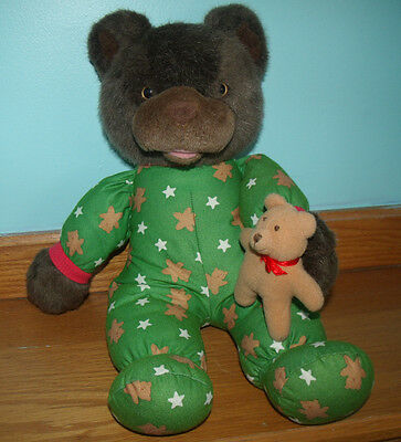 "Avon Talking Teddy Bear 17"" Plush Green Pajamas Baby Bear"