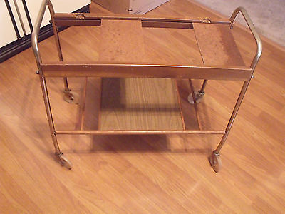 Vtg Eames Era Cosco? Danish Retro TV Stand Cart Stereo Gaming Faux Wood Finish