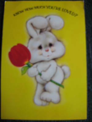 1982 vintage greeting card Easter Bunny w/ tulip pop-up inside large 6-1/2x9-1/2