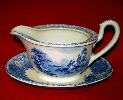 ROYAL DOULTON FLOW BLUE GRAVY BOAT with ATTACHED UNDERPLATE VINTAGE