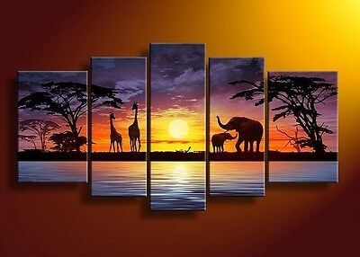 5pc Landscape Hand Painted Wall DECOR Art Oil Painting on Canvas Africa Sunset