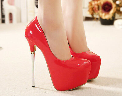 Womens Sexy Super High Heel Platform Round Toe Evening Pumps Party Shoes Red 8