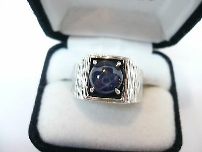 Vintage Sterling Silver Natural Real Blue Star sapphire Men Ring, Size 9