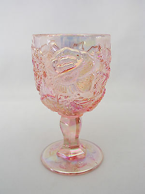 "L. G. WRIGHT - WILD ROSE - PINK OPALESCENT 6 1/2"" WATER GOBLET"