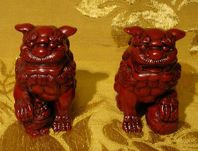 PAIR OF RED FOO DOGS MADE IN TAIWAN