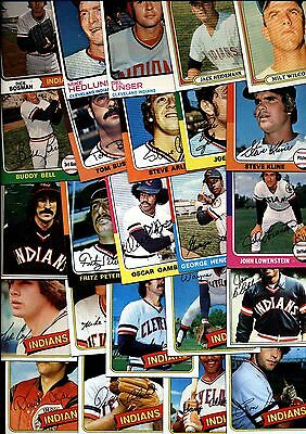 1970's TOPPS INDIANS CARD LOT OF 24 NRMT 9047