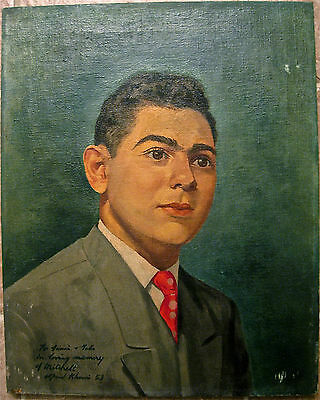 Listed Artist Alfred Khouri (1915-1962) Signed Oil On Canvas 1953 Portrait