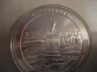 2011 America the Beautiful Gettyburg 5 oz silver coin
