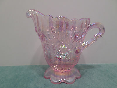 FENTON CREAMER PINK CARNIVAL GLASS IRIDESCENT CABBAGE ROSE