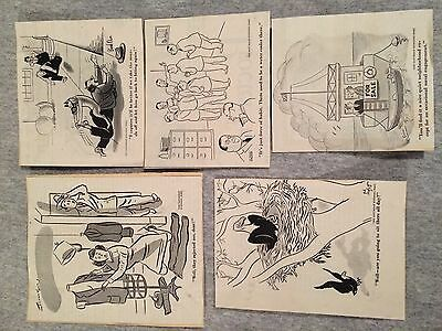 """Five Original Comic Clippings from """"The Saturday Evening Post! 1940's+1950's NoR"""