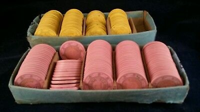 LOT of 156 Clay Yellow/Pink SAHARA LAS VEGAS Roulette Chips $1, $2, $3