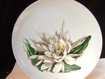 """FLOWERS OF HAWAII charger 12"""" Night Blooming Cereus 1950 Santa Anite Ware coupe"""