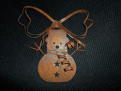 Primitive Rusted Metal SNOWMAN Christmas Ornament Country
