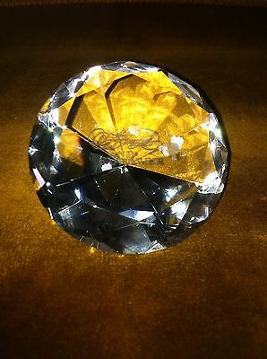Vintage Large Art Crystal Glass Diamond Style Forever Love Rose Gift Paperweight