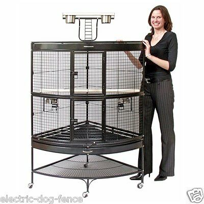 "Large Black Corner Parrot Bird Cage 45"" L x 30"" W x 69"" H by Prevue Hendryx"