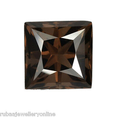 7mm PRINCESS CUT GENUINE SMOKY / SMOKEY QUARTZ LOOSE GEMSTONE